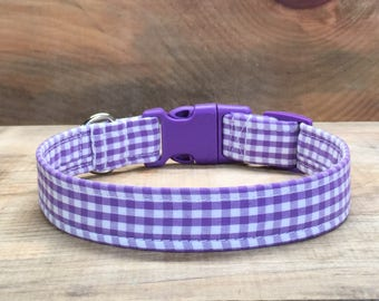Purple and White Gingham Dog Collar, Purple dog collar