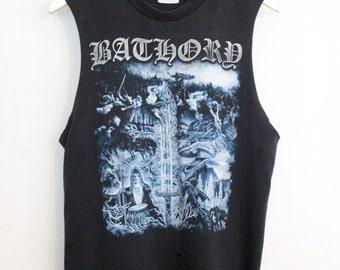 Bathory shirt 1990s vintage t shirt band t-shirts rare Black Metal shirt 90s heavy metal clothing thrash metal band tee muscle tank