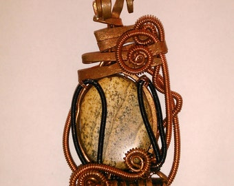 Picture jasper, Wire wrapped pendant, Copper and black wire, Natural stone, Handmade pendant