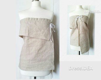 Linen Top for Women, Minimalist Clothing layered tunic beige linen wrap summer top eco clothes