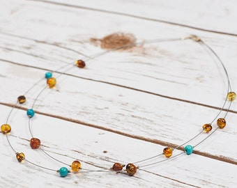 Genuine Baltic Amber Necklace Genuine Amber Handmade Necklace Choker Collar Genuine Turquoise Steel line Sterling Silver N031-T