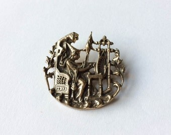 Bronze tone spinster brooch   Circle pin  