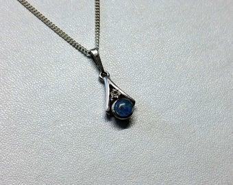 Pendant white gold 333 blue Opal Crystal stone G140