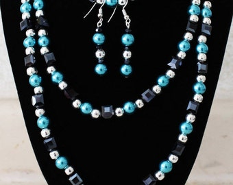 double beaded necklace set,drop earrings,bracelet,square gem,black,silver bead,turquoise bead,silver plated,costume jewellery,vintage,