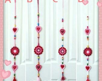 Hearts and Flowers Doorhanger Windowhanger crochet ornament decoration boho teachers gift