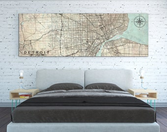 DETROIT MI Canvas Print MI Michigan Vintage map Detroit mi City Horizontal Wall Art Vintage map Panoramic Extra Large Oversized poster map