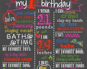 Very Hungry Caterpillar Birthday Chalkboard / Very Hungry Caterpillar Birthday / Very Hungry Caterpillar First Birthday / Digital File Only