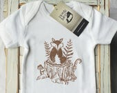 WOODLAND FOX-  SHORT  Sleeve Organic Baby...