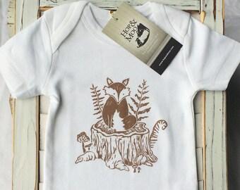 WOODLAND FOX-  SHORT  Sleeve Organic Baby Onesie