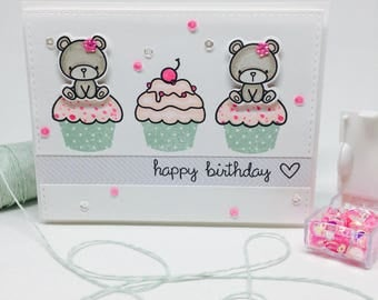 Handmade Birthday Card - Cupcakes - Birthday Cupcakes