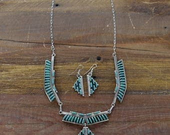 Zuni NS Sterling Silver and Turquoise Needlepoint Necklace and Earring Set