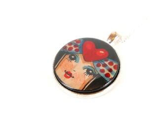 Romantic necklace,Romantic pendant,necklace,pendant,Liberty style jewellery,wood,jewellery,gifts,Handpainted,handmade,birthday gift