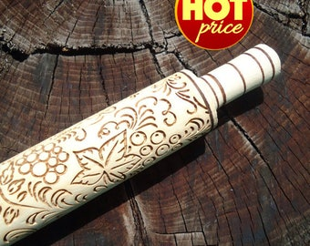 Eco friendly Housewarming gift for mom Cooking Hostess gift for Grandma gift from kids Coworker gift under 20 Grapes Embossing rolling pin