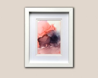 Pink and black mini alcohol ink painting original on yupo paper, modern, contemporary, chic decor, abstract ink painting, minimalist art