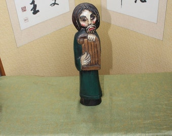 Primitive Irish Hand-Carved Wood Holy Man Playing a Lute