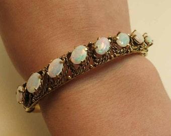 opal 14k bangle bracelet 8 opals