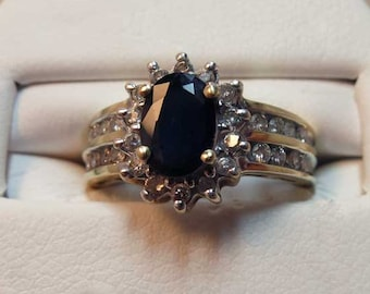 sapphire and diamond fashion ring 14k yellow gold