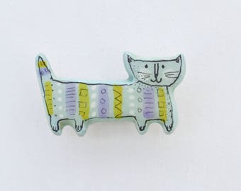 Retro Cat, Cat Pin, Cat Brooch, Turquoise Cat, Cat Lapel Pin, Cute Cat, Cat Jewellery, Cat Lover
