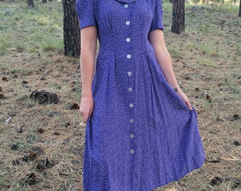 Vintage Purple Dotted White Dress with Sailor Collar; 1980s 1990s; 90s does 40s Sailor Dress; 1940s Style; Polka Dots; 80s