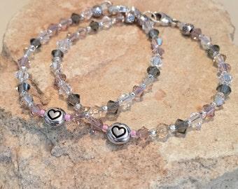 Multicolored mother-daughter bracelet set, Swarovski crystal bead, message mom daughter bracelet set, flower gift for daughter, gift for mom