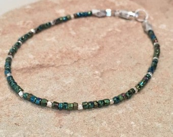 Green seed bead bracelet, iridescent bracelet, Hill Tribe silver bracelet, single strand bracelet, small bracelet, dainty bracelet