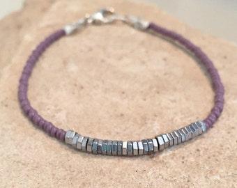 Purple bracelet, Czech seed bead bracelet, hematite bracelet, Hill Tribe silver bracelet, sundance style bracelet, small bracelet