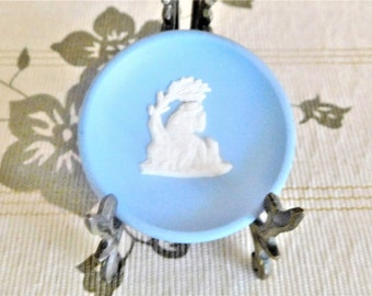 Dudson Hanley blue Jasperware miniature plaque 1940s seated shepherd with dog