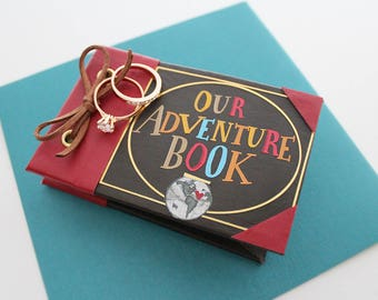 Our Adventure Book Engagement Ring Box, Ring Bearer, Geeky Personalised Proposal, Wedding Ring Box