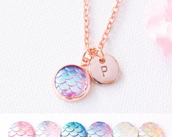 rose gold mermaid tail necklace, scale necklace, custom necklace, colourful resin necklace, initial jewellery, custom jewelry, RGPSCA0117