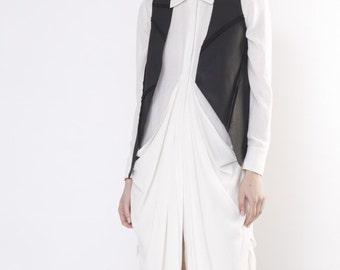 Short denim vest / Black denim vest / Asymmetric denim vest / Classic denim vest / Short black vest / Black gilet / Designer vest