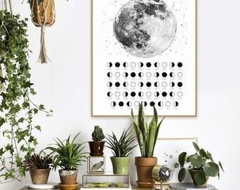Lunar Calendar 2017, Moon Phases, Moon Poster, Printable Calendar, Poster Printable, 2017 Calendar, 2017, Moon decoration, Moon print
