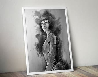 Ghost in the shell print, Scarlett Johansson print Ghost in the shell movie poster wall art home decor