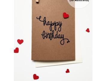Happy Birthday Card – Love Heart Birthday Card – Birthday Greeting Card – Happy Birthday Hand Lettered Card