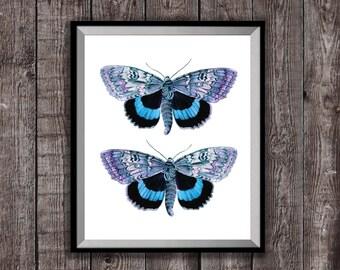 Mooie blauwe vlinders Art Print, Boheemse Poster, nieuwe Decor van het huis, huis opwarming van de aarde Gift, Insect Poster Artwork, geschenk Boyfriend, wand Decor kunst