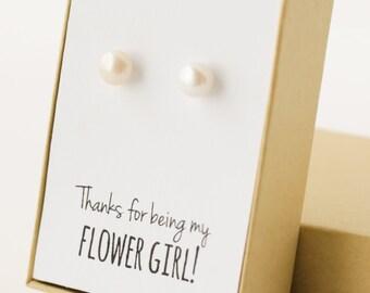 Flower Girl Gift - Pearl Stud Earrings - Real Pearl Earrings - Pearl Studs - Freshwater Pearl Earings - 8mm - Flower Girl Post Earrings