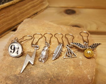 Free Shipping - Harry Potter Inspired Stitch Markers for Knitting and Crocheting set of 6 Unique Markers