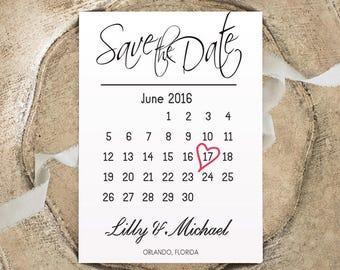 Calendar save the date cards Printable wedding save the date calendar Rustic save the date Engagement card Custom Wedding invitation
