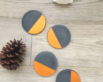Black Concrete Copper Painted Round Coasters. Set of 4
