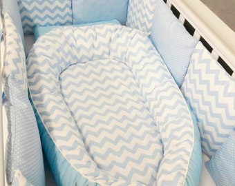 Toddler size Blue Breeze Baby Nest, Babynest, Baby Bed, Baby Pillow, Co sleep, Travel Bed, Baby Sleep, Baby Cocoon, Baby Shower Gift