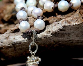 Flameball Pearl Necklace with Sterling Silver Wire & Beads - 6425-24