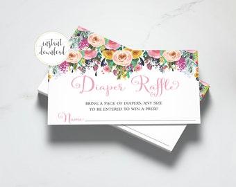Floral Diaper Raffle Inserts, Diaper Raffle Tickets, Floral Baby Shower, Diaper Raffle Card, Floral Invitation Insert, INSTANT DOWNLOAD