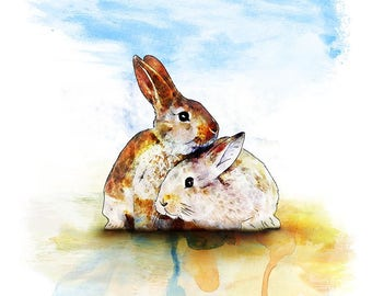 2 Cute Bunnies - kids decor - kids room - Nursery Art - Nursery Prints - Animal Prints - Childrens Art