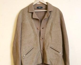 Men's 90's Vintage  Brown Felt Jacket Retro 90's Felt Knit Jacket Size Small Mens clothing