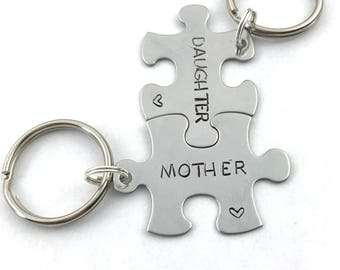 Puzzle Piece Keychain - Mother Daughter Gift - Mothers Day Keychain - Hand Stamped Puzzle Pieces - Gift for New Mom - Mommy Keychains