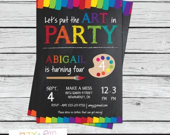Art Party Invitation - Art Birthday Party Invitation - Painting Party Invitation - Printable Birthday Invitation - Digital Download
