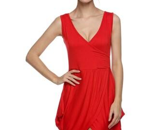 Deep V Neck Wrap Over Tulip Shape Evening Party Club Mini Dress