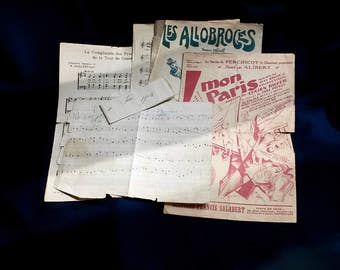 Music Sheets, Antique French Publications, Antique French Paper, early 1900s French Ephemera, Antique Music Sheets