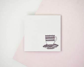 Teacup Illustrated Sticky Post It Notes Planner Stickers Cute Stationery