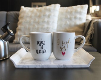 I Popped the Question and I Said Yes Coffee Mug set, Option to Personalize, Gift for couple