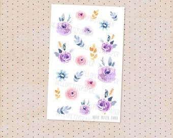 Watercolor flower stickers - Le Jardin Collection